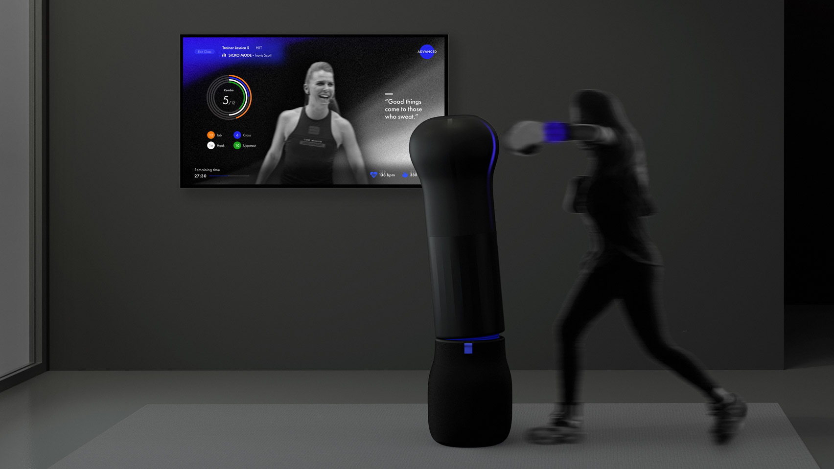 A visual of Home Cardio Bolt Boxing by Hyemin Eom and Jeong-a Seo from Hongik University