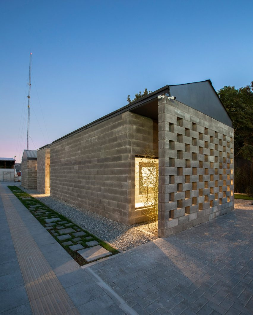 Perforated brick wall at Aptus Factory Showroom by Hooba Design Group
