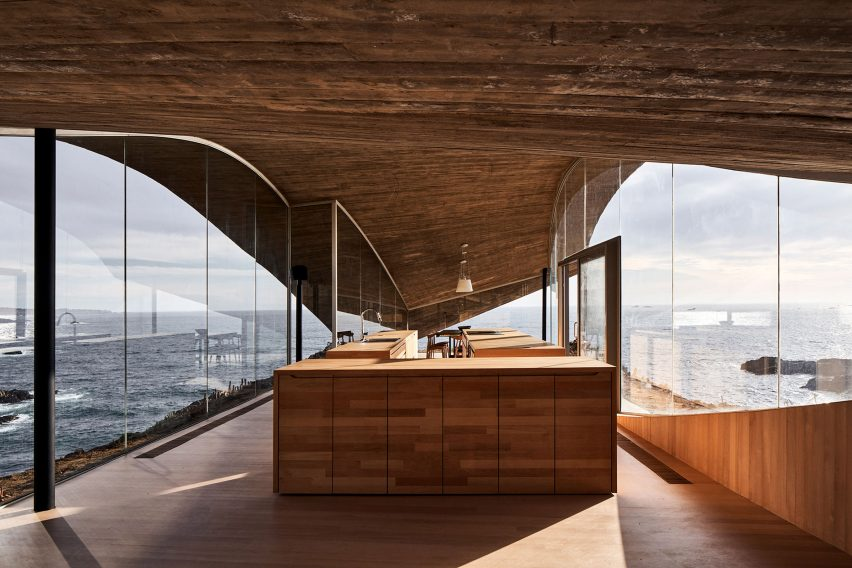 Kitchen overlooking the South Pacific