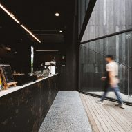 The cafe inside of IDIN Architects Office in Bangkok, Thailand