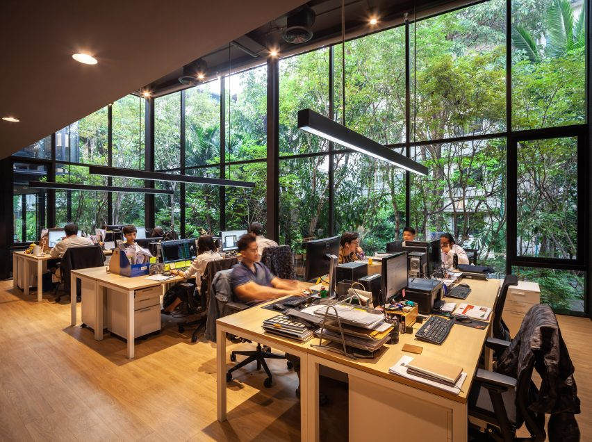 A workspace inside IDIN Architects Office in Bangkok, Thailand