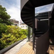 A staircase outside IDIN Architects Office in Bangkok, Thailand