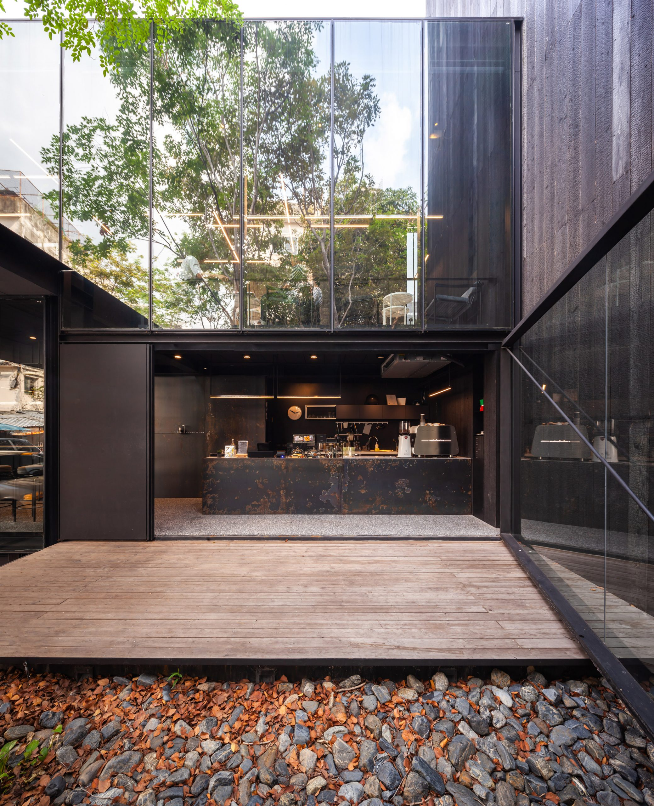 The cafe inside IDIN Architects Office in Bangkok, Thailand