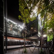 A courtyard in IDIN Architects Office in Bangkok, Thailand