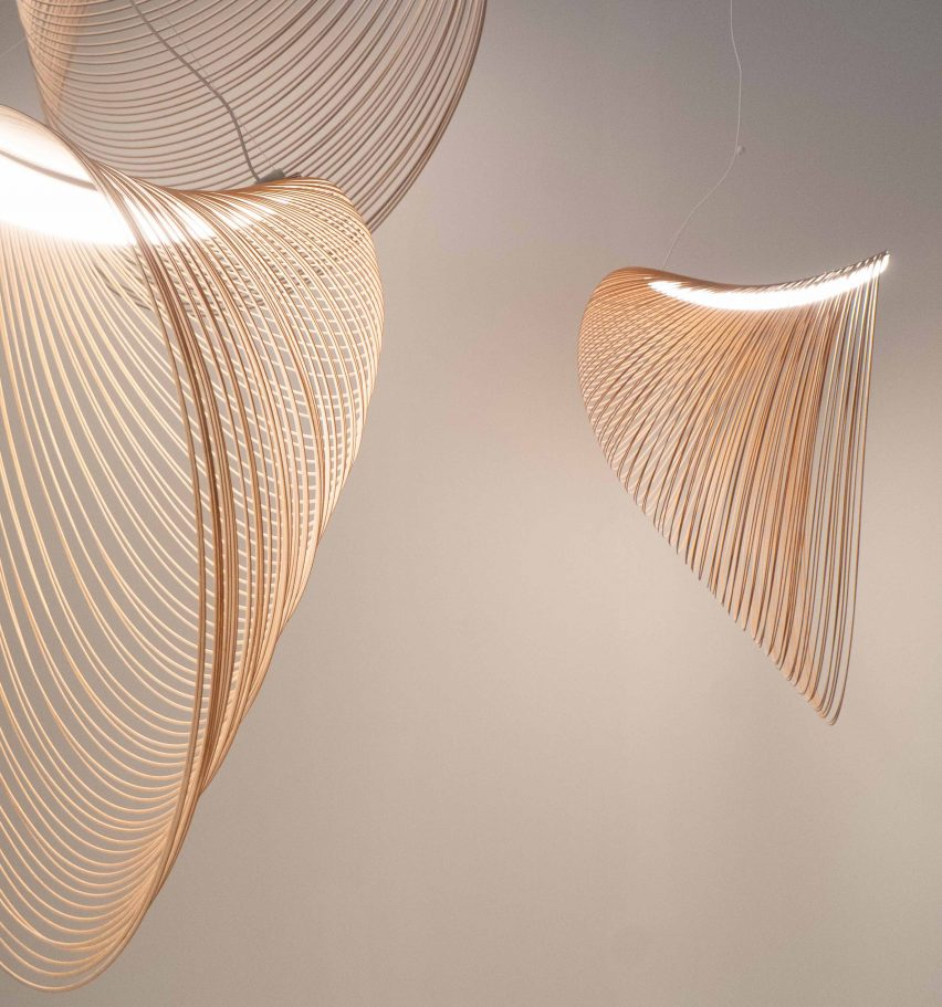 Three sizes of Illan Pendant Light designed by Zsuzsanna Horvath from birch plywood