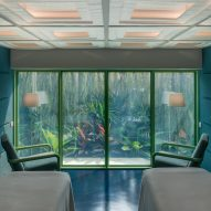 Space Popular uses green tones throughout Infinity Wellbeing spa in Bangkok