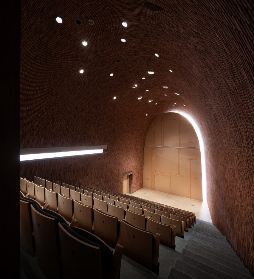 An auditorium inside Jingdezhen Imperial Kiln Museum by Studio Zhu-Pei