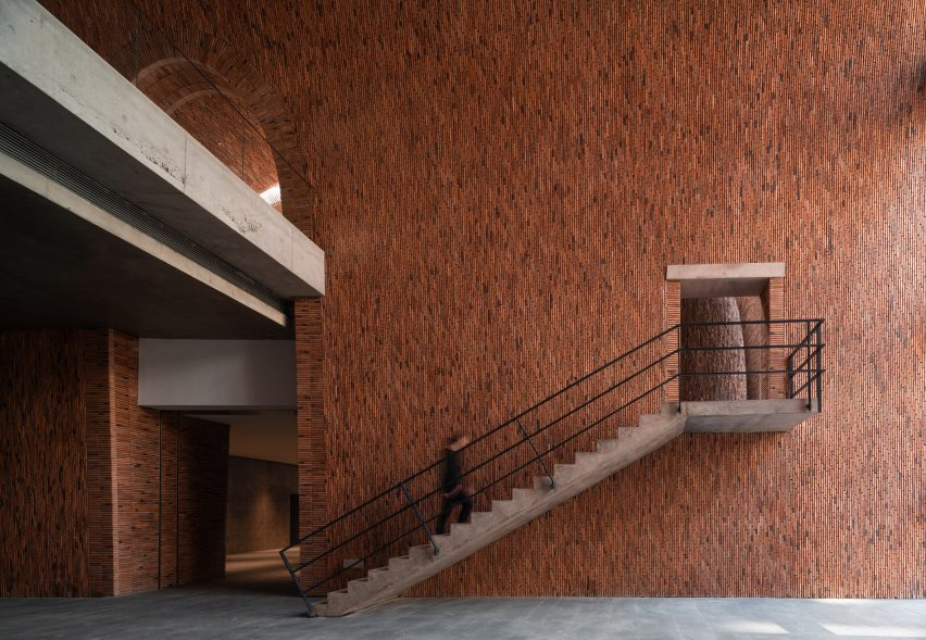 Inside a gallery of Jingdezhen Imperial Kiln Museum by Studio Zhu-Pei