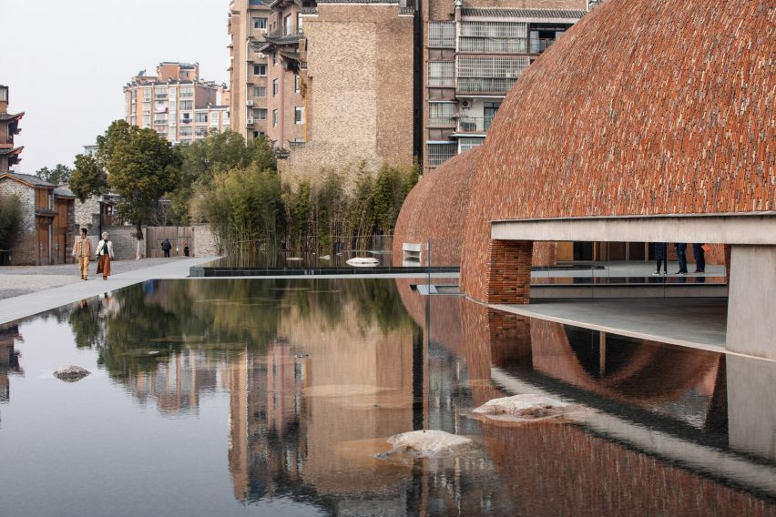Public space outside the Jingdezhen Imperial Kiln Museum by Studio Zhu-Pei