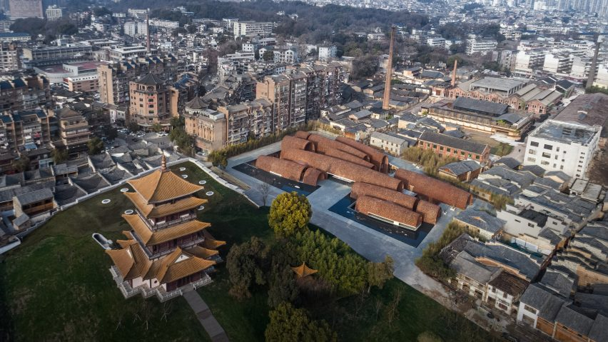 Aerial view of the Jingdezhen Imperial Kiln Museum by Studio Zhu-Pei