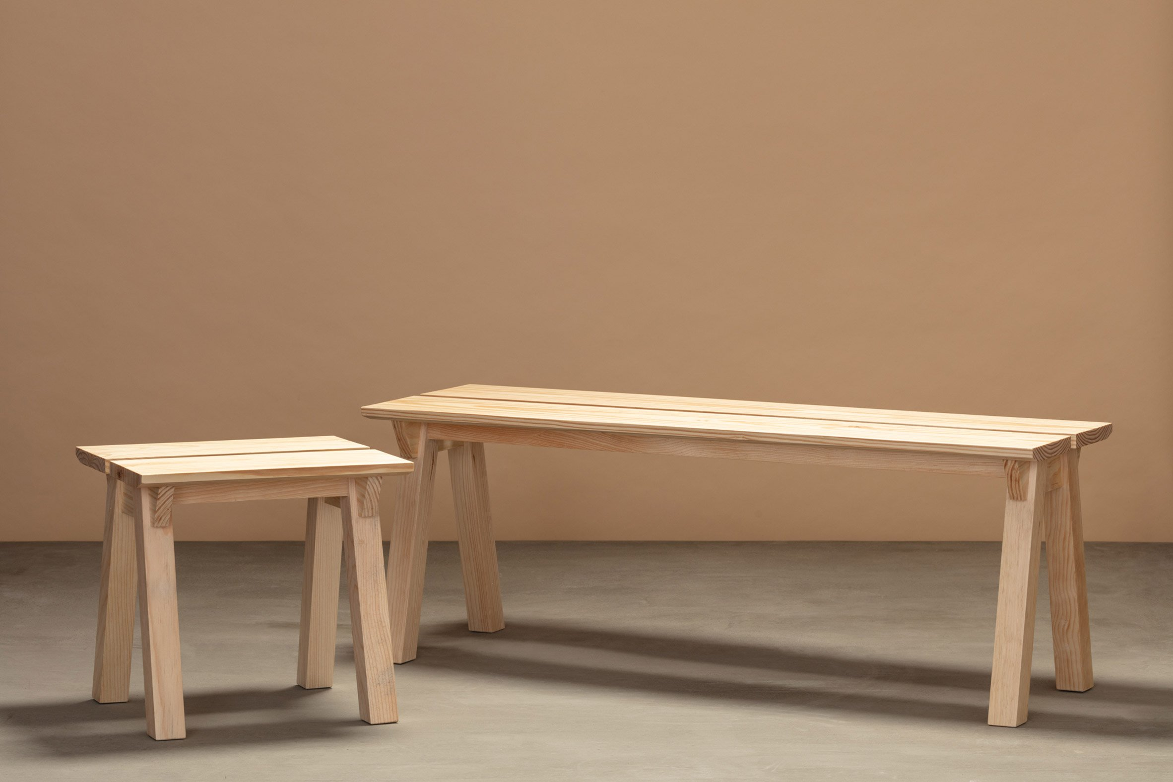Stool and bench from Jorge Diego Etienne's Tempo collection for Techo