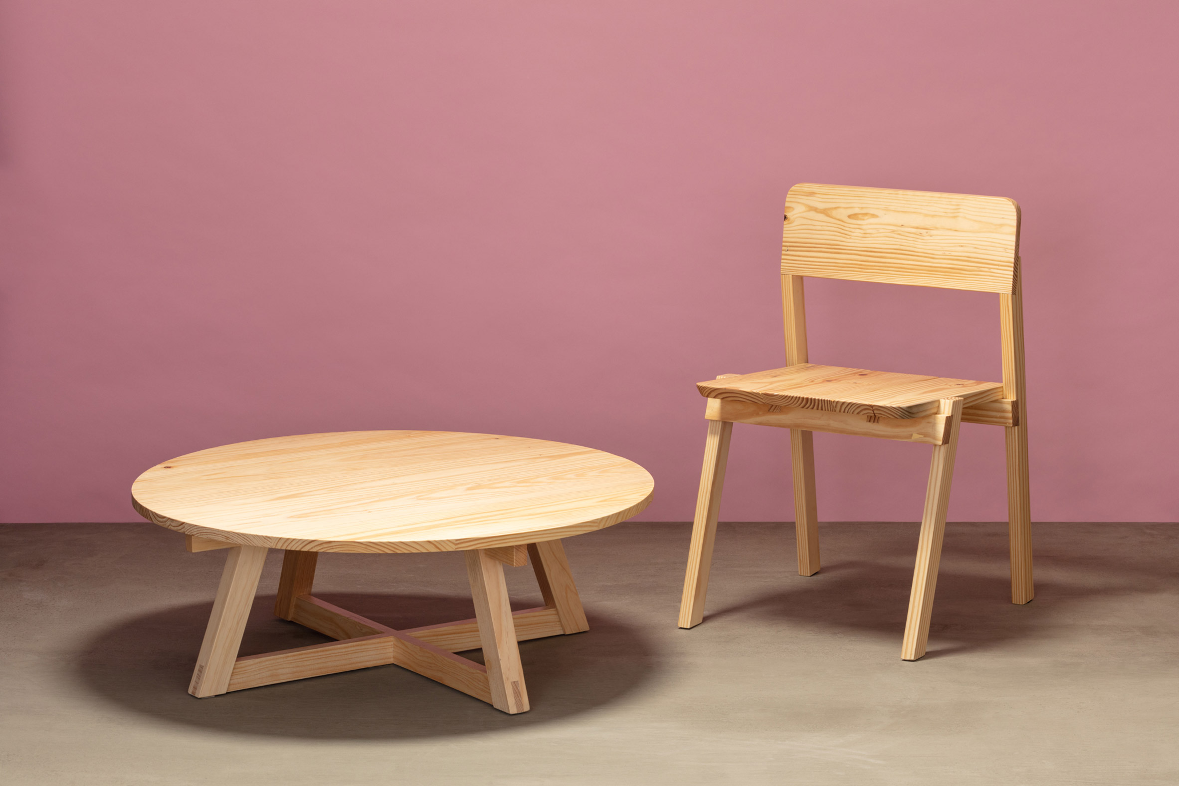 Coffee table and dining chair from Jorge Diego Etienne's Tempo collection for Techo