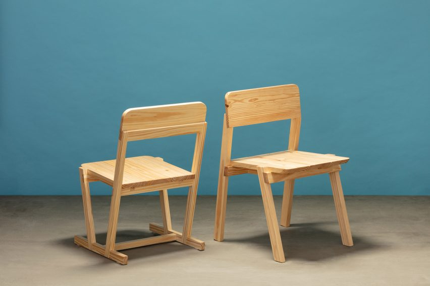 Two dining chairs from Jorge Diego Etienne's Tempo collection for Techo
