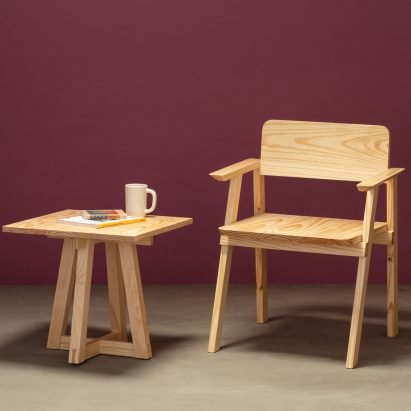 Side table and dining chair with armrests from Jorge Diego Etienne's Tempo collection for Techo