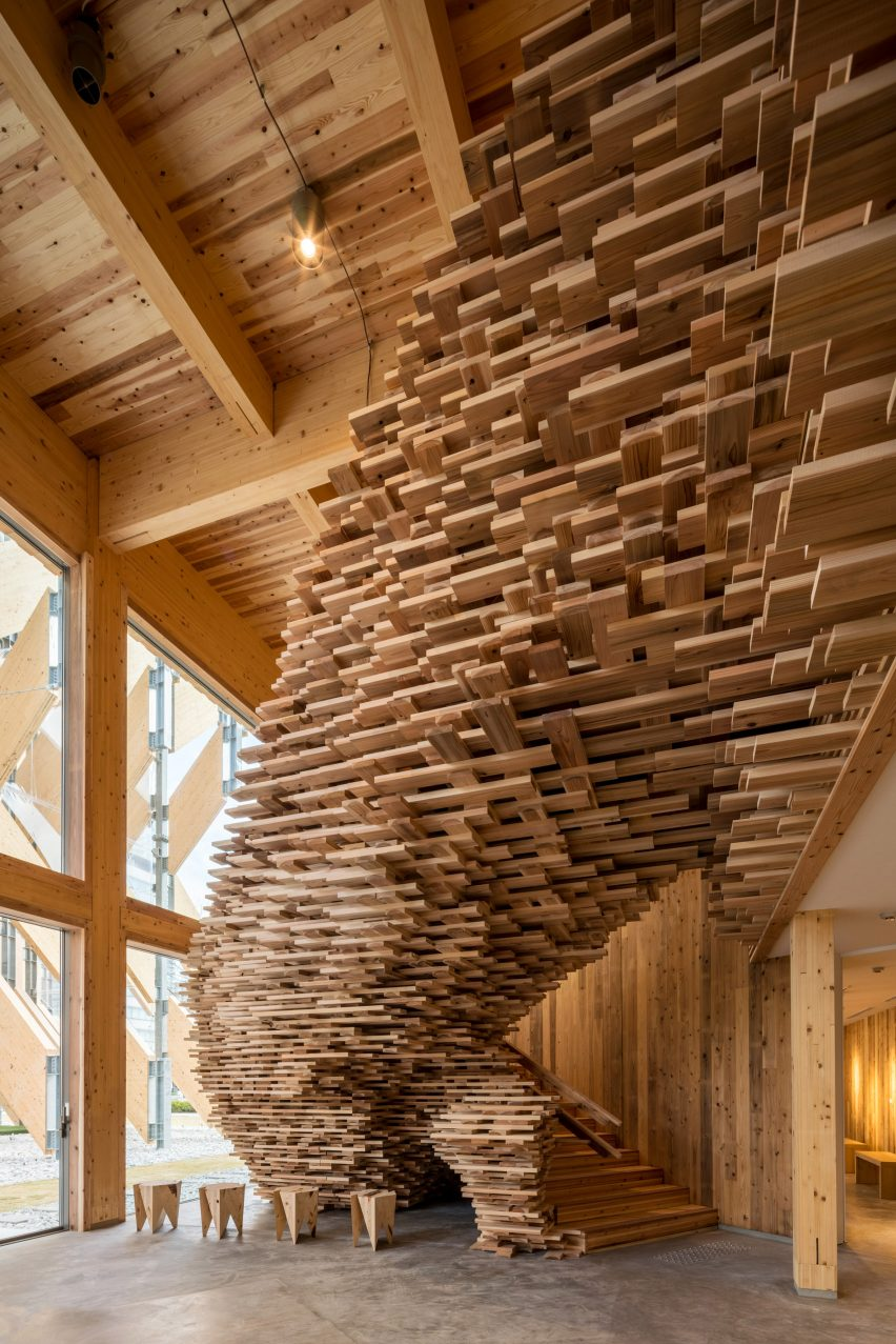 A staircase in CLT Park Harumi by Kengo Kuma in Tokyo, Japan