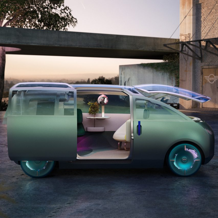 "MINI's Vision Urbanaut vehicle shifts between three interior layouts using a digital ""token"""