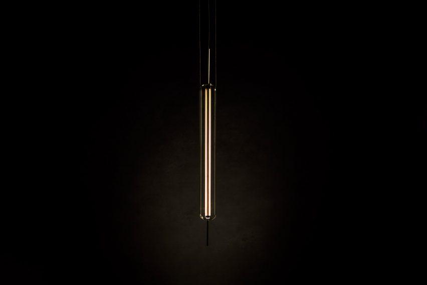 Lit-up Luminosa lamp by Morgan Ruben