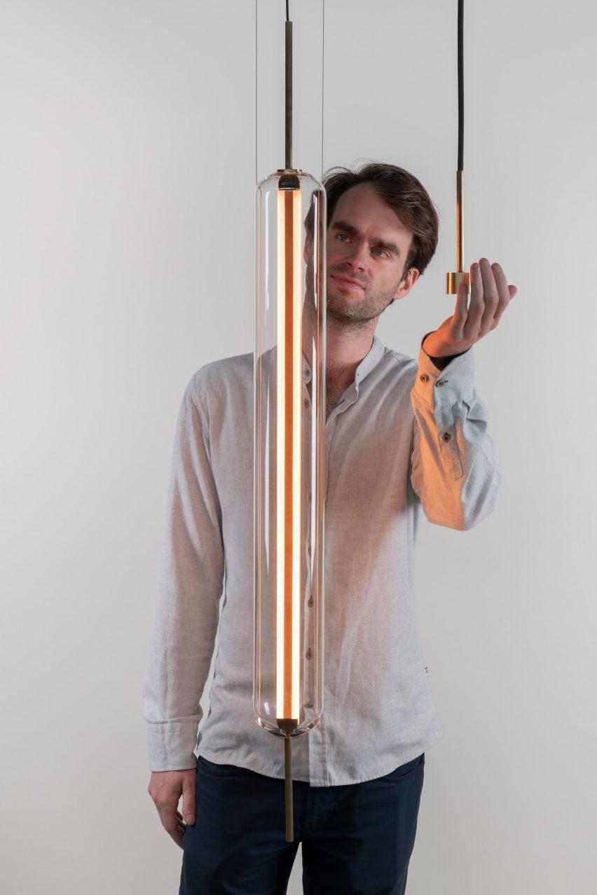 Morgan Ruben with his Luminosa light
