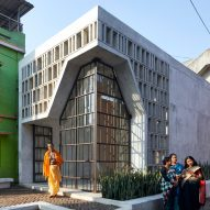 Abin Design Studio creates latticed concrete and glass temple in India