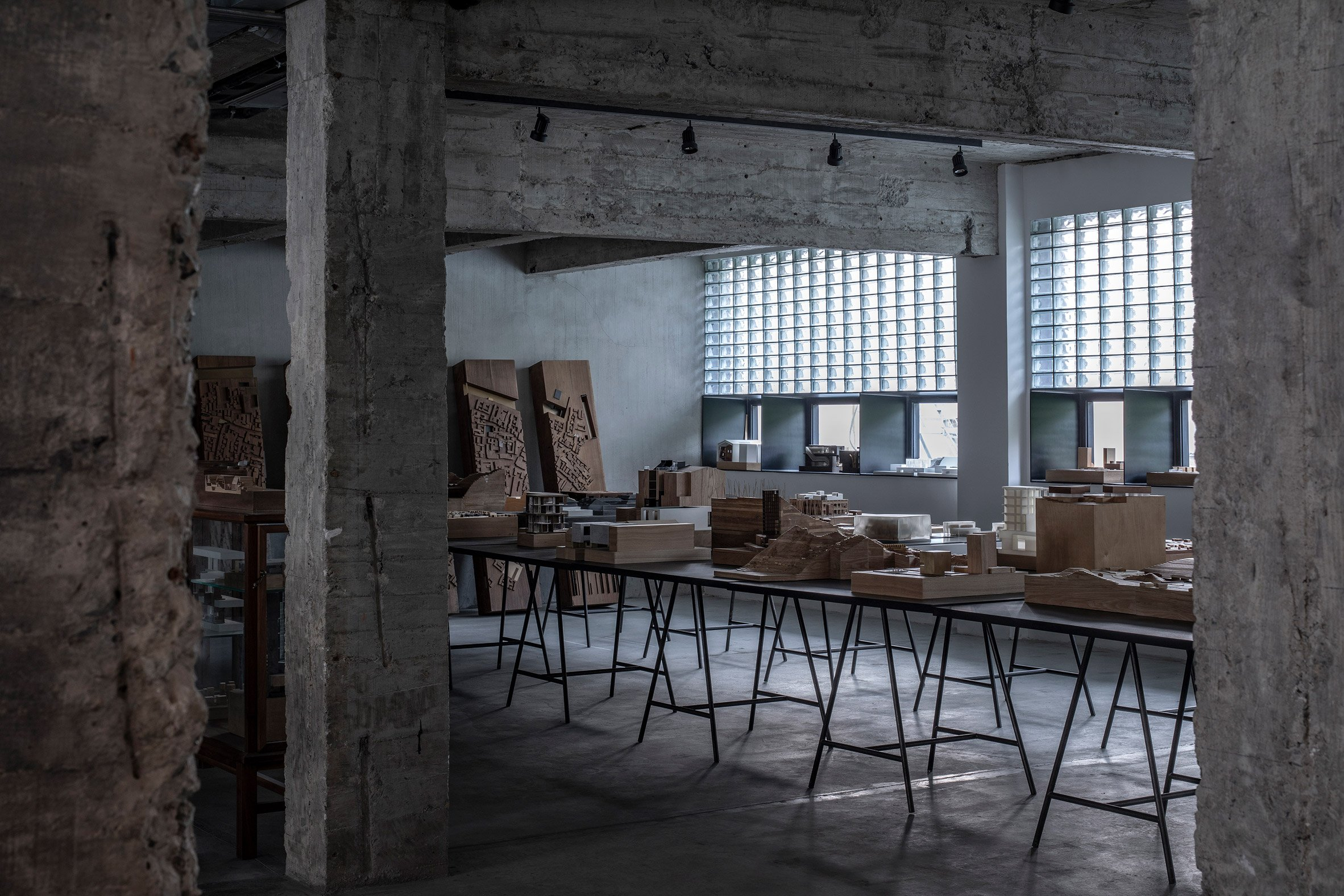 Exposed concrete columns in Shanghai architecture office