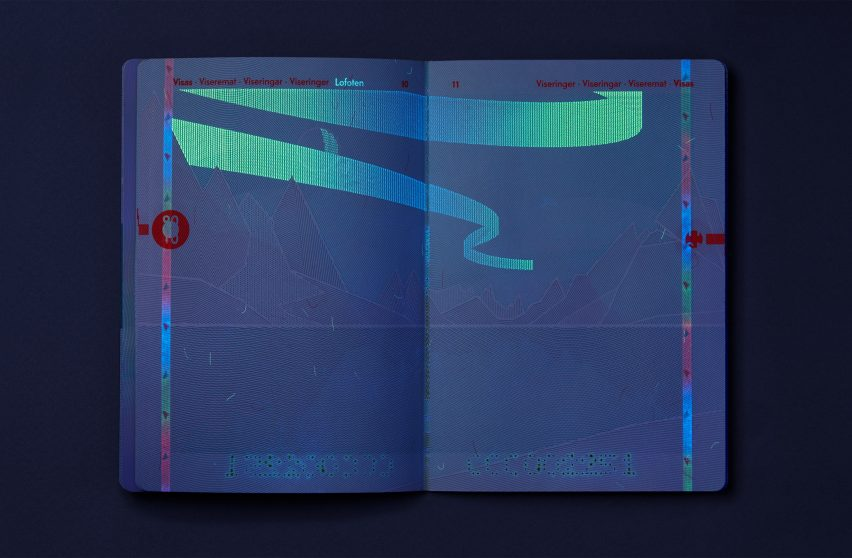 A double-page spread of the passport under UV light