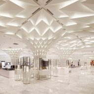Leaf-shaped aluminium panels cover ceiling of Tokyo department store
