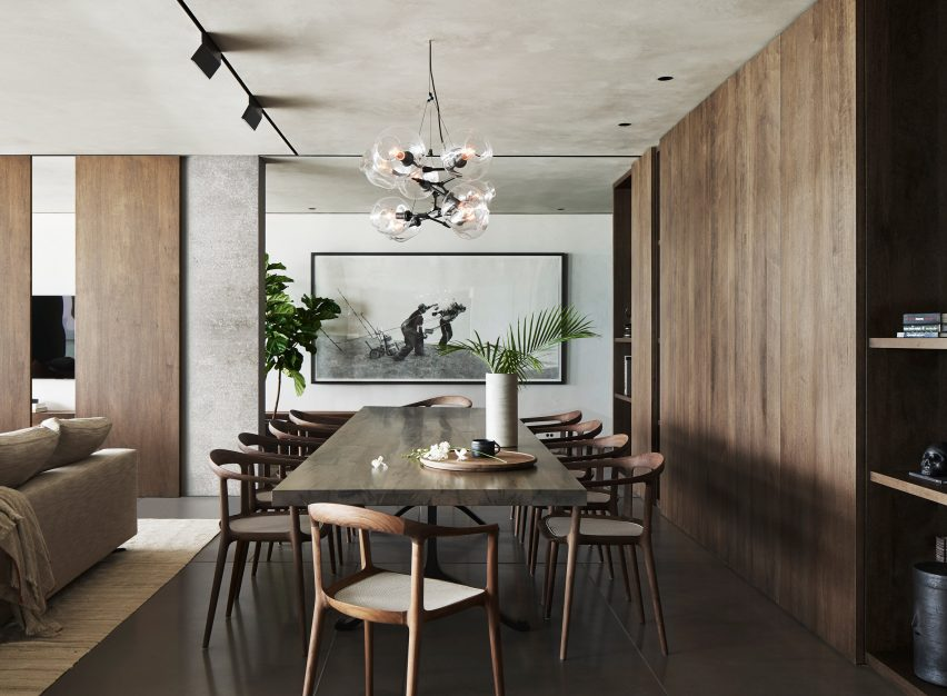 Dining area of Ocean Drive apartment by MW Works in Miami, Florida