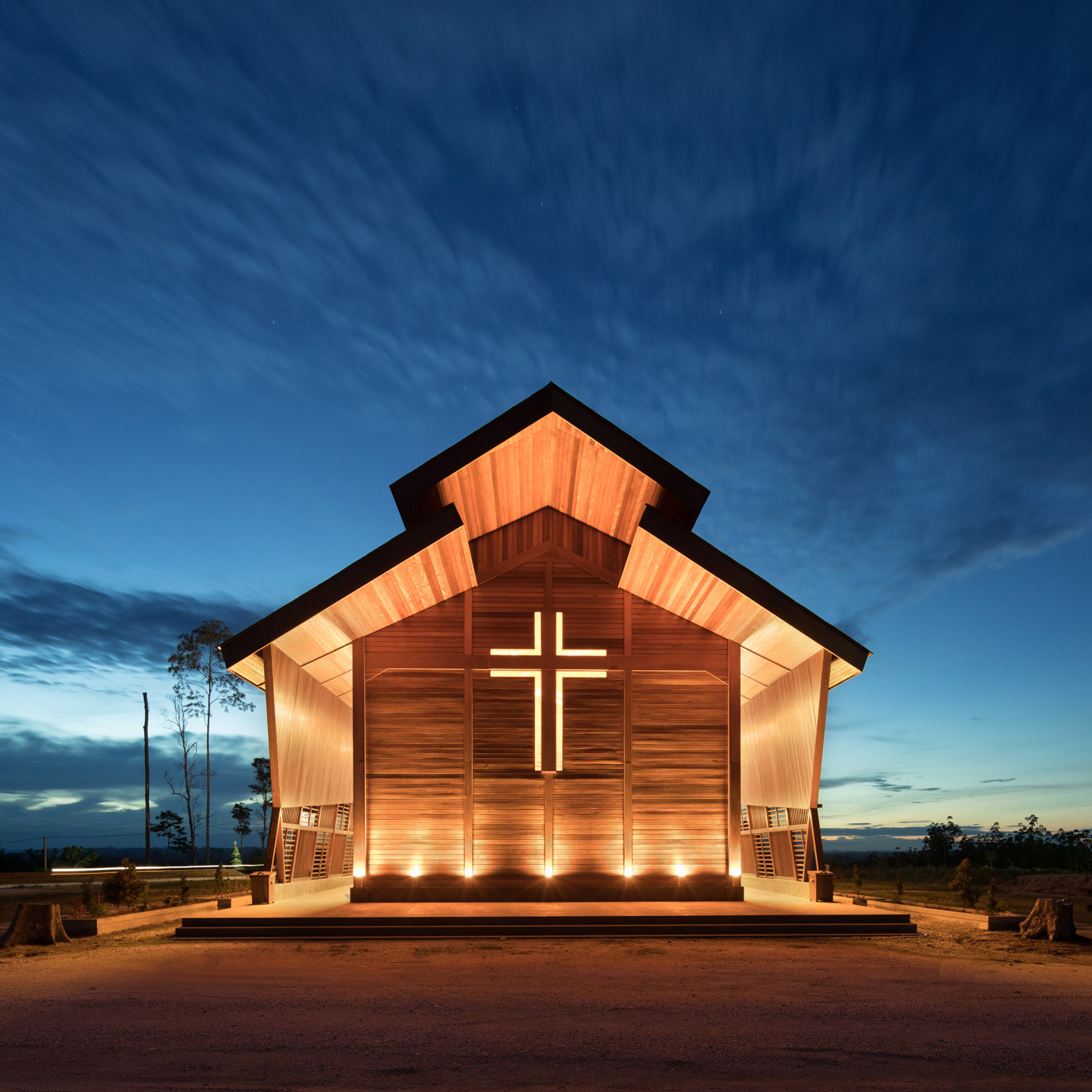 Timber church in Indonesia
