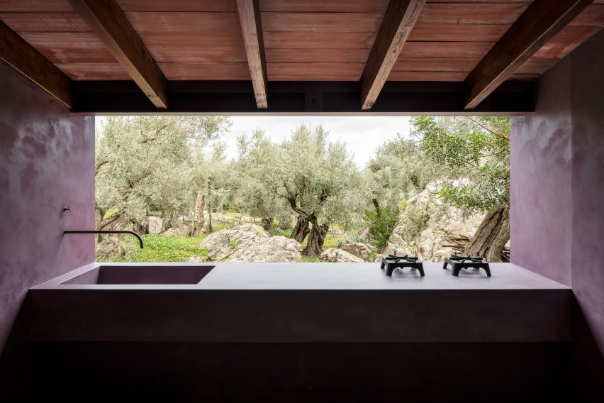 Sink and stover overlooking an olive grove