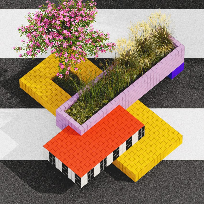 A geometric planter in Camille Walala's proposal of a pedestrianised Oxford Street, London