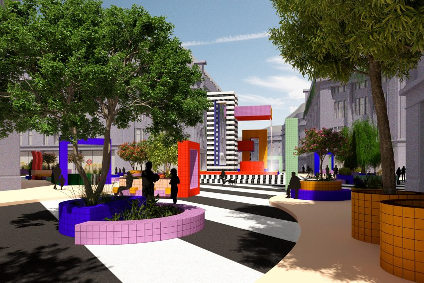 Planters and a fountain in Camille Walala's proposal for a pedestrianised Oxford Street, London