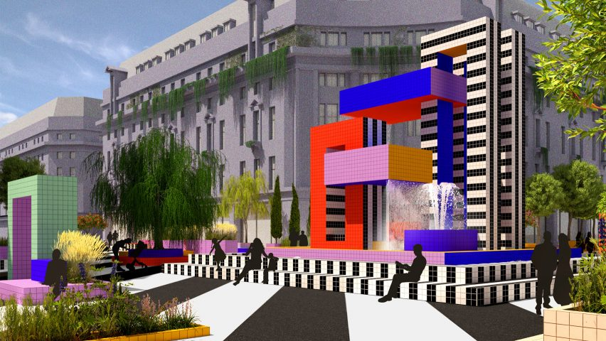 A fountain in Camille Walala's proposal for a pedestrianised Oxford Street, London