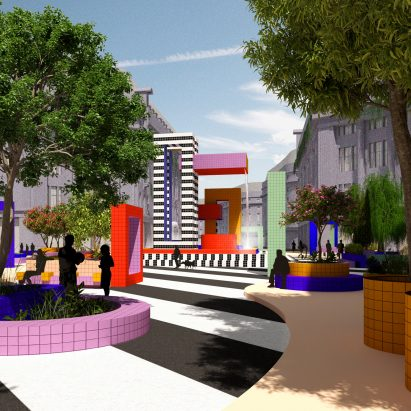 A visual of Camille Walala's proposal for a pedestrianised Oxford Street, London