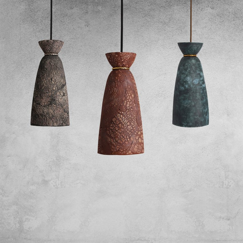 Pando pendant by Mullan Lighting in red iron, blue earth and black clay