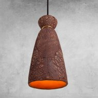 Pando pendant by Mullan Lighting in red iron