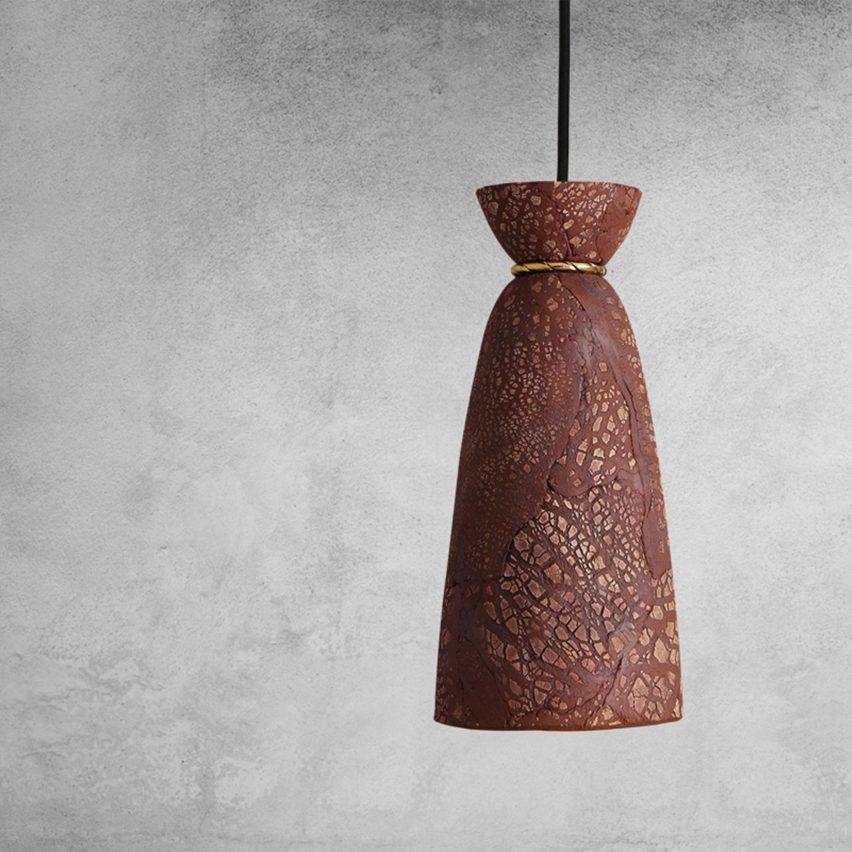 Pando pendant by Mullan Lighting in red iron