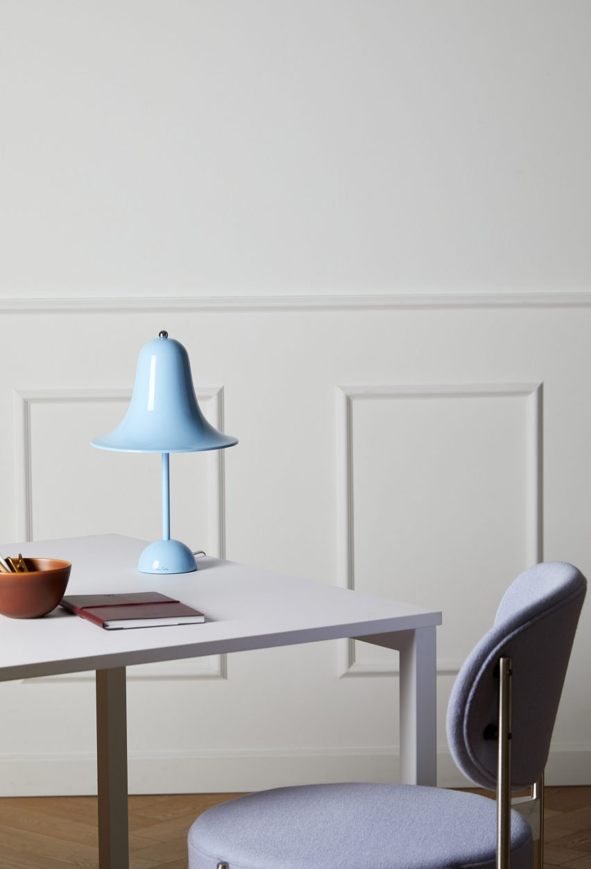 Blue Pantop table lamp by Verner Panton for Verpan