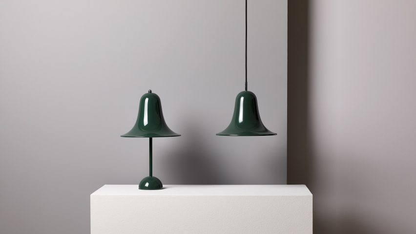 Green Pantop pendant light and table lamp by Verner Panton for Verpan