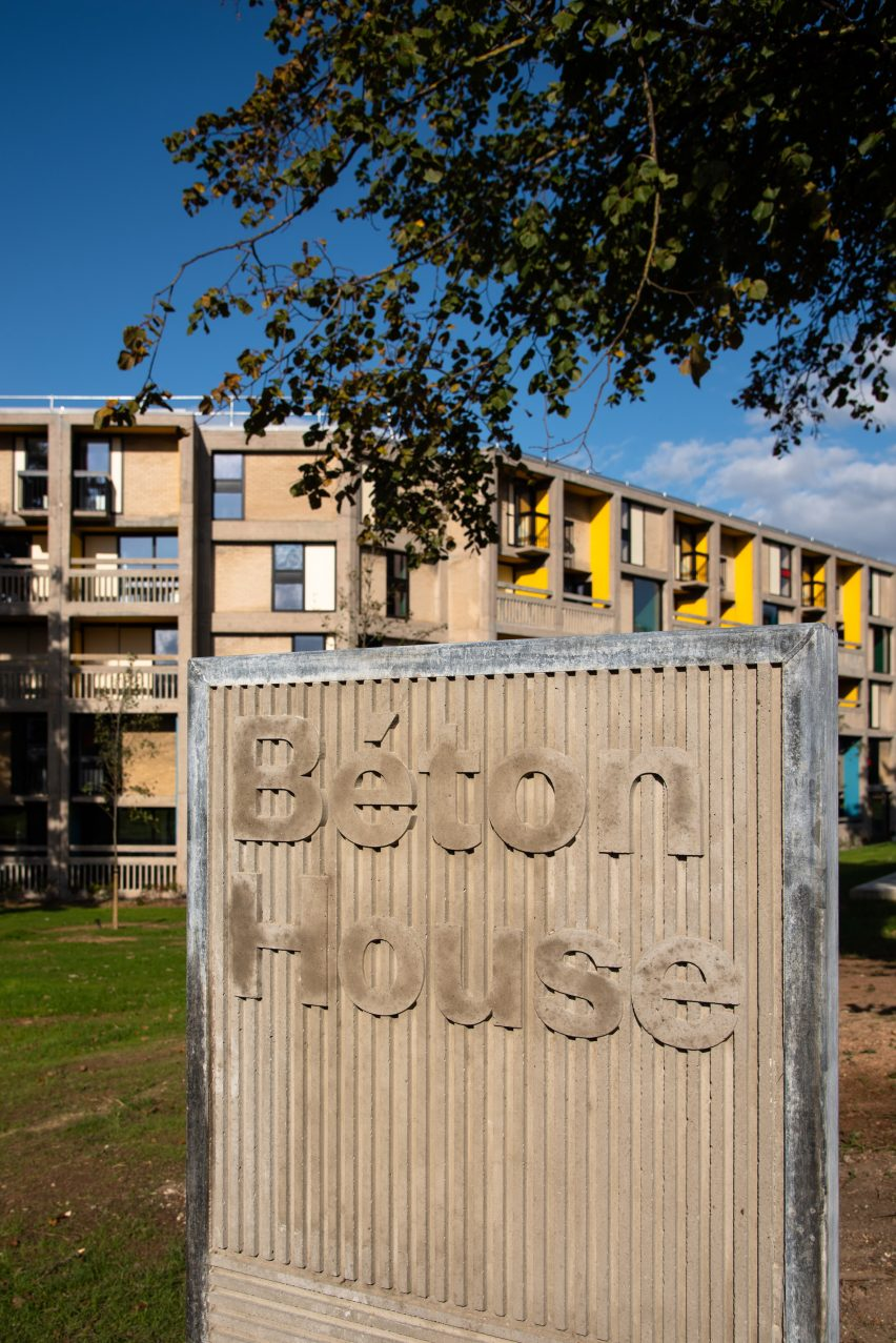 Sign outside Béton House at Park Hill by Whittam Cox Architects