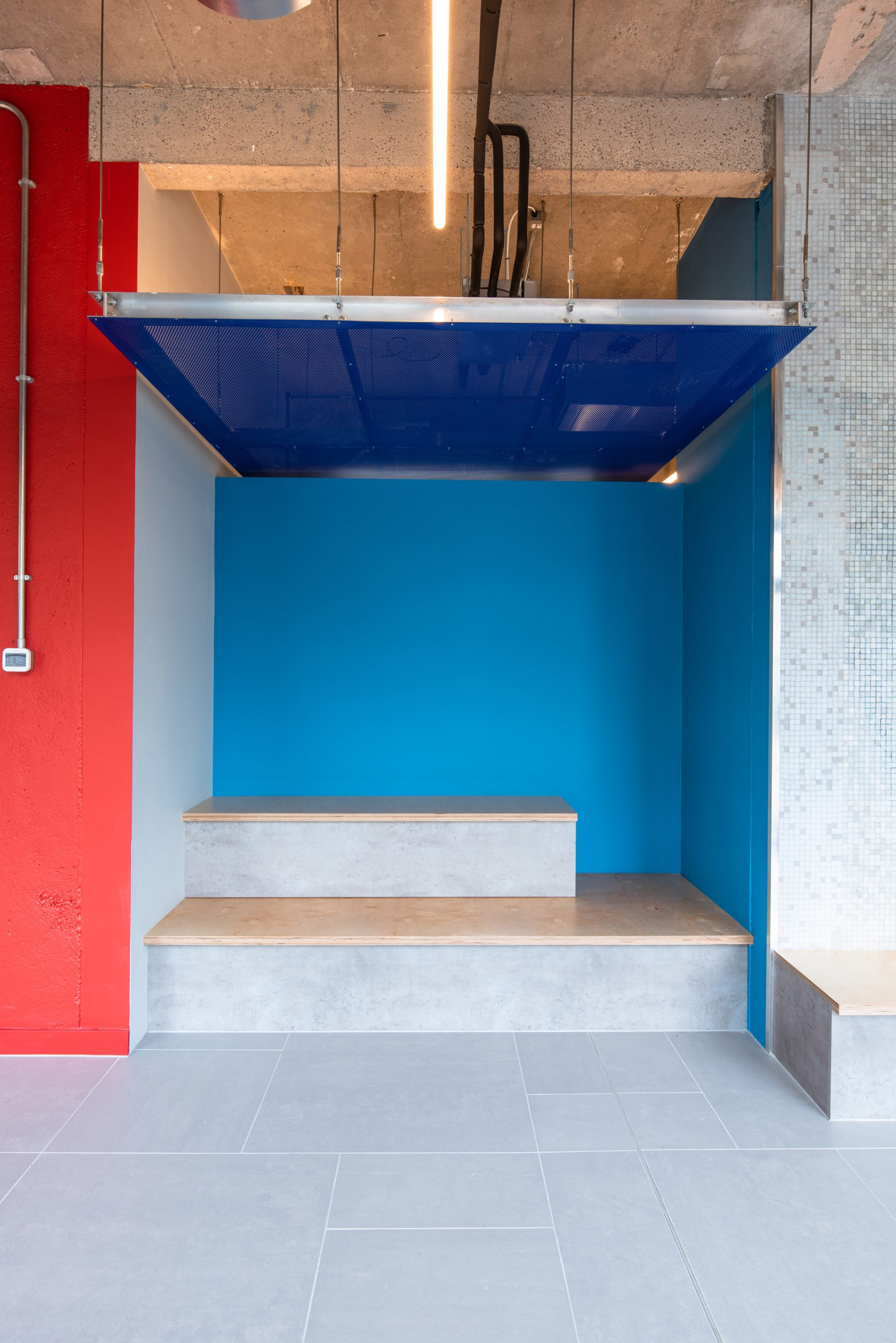 Seating inside Béton House at Park Hill by Whittam Cox Architects