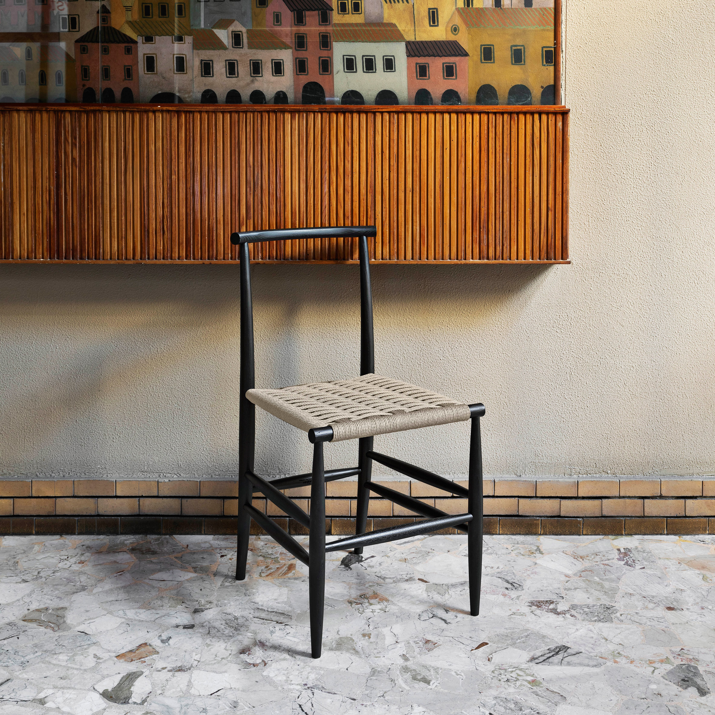 Pelleossa chair with rushed seat designed by Francesco Faccin for Miniforms