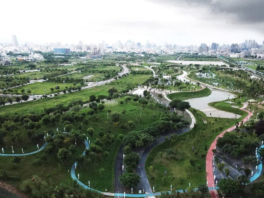 Aerial view of Phase Shifts Park designed by landscape architects Mosbach Paysagistes in Taichung, Taiwan