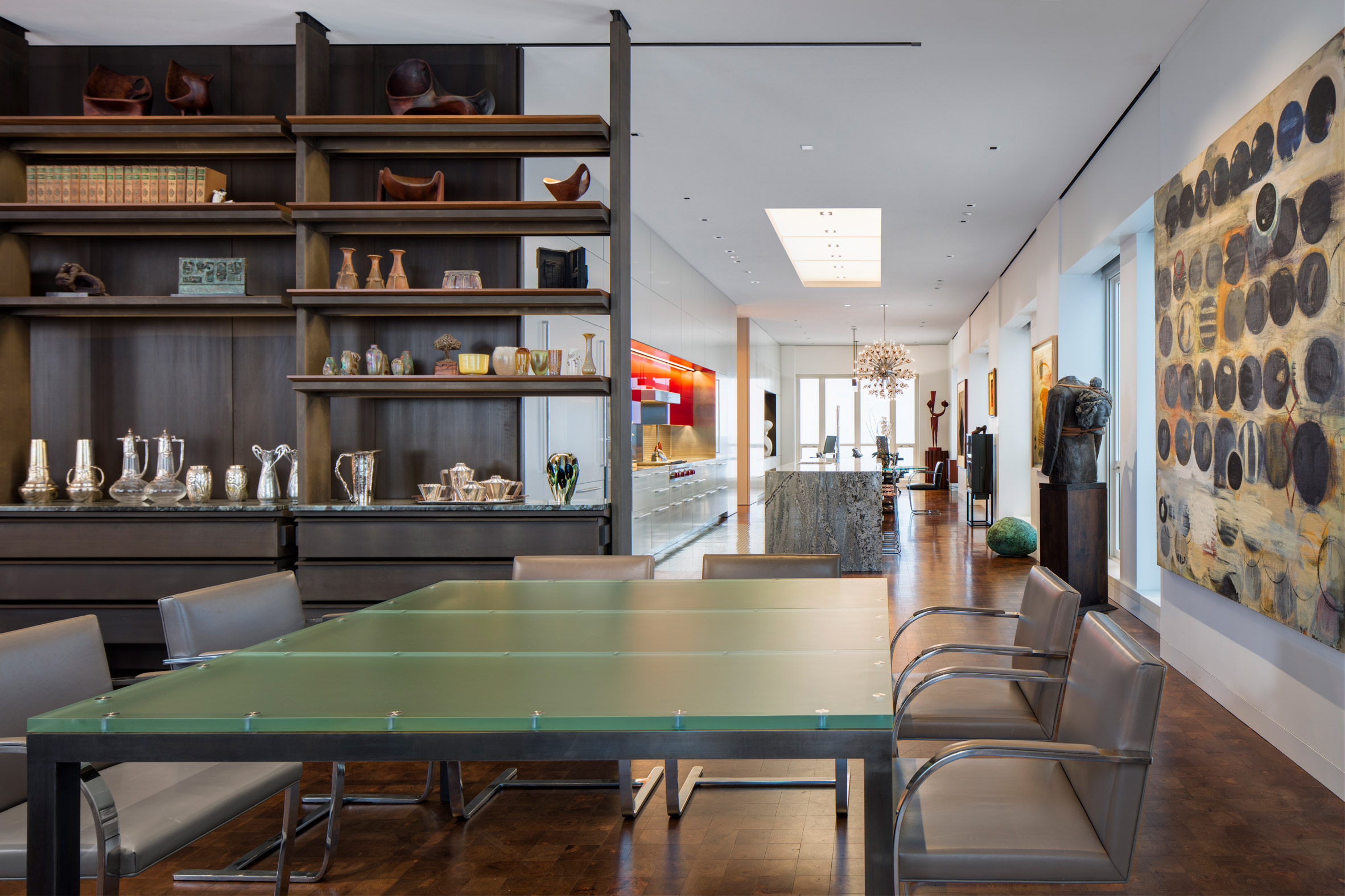 Dining room of Residence for Two Collectors by Wheeler Kearns Architects