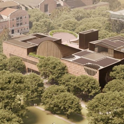 An aerial view of Adjaye Associates' proposed student hub for Rice University