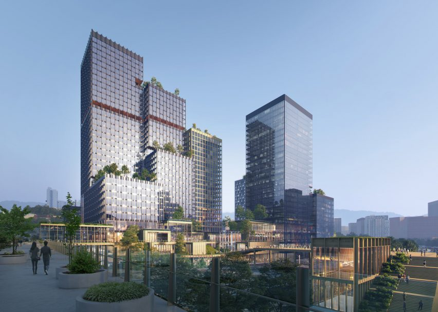 A cluster of towers in Henning Larsen's Seoul Valley proposal for South Korea