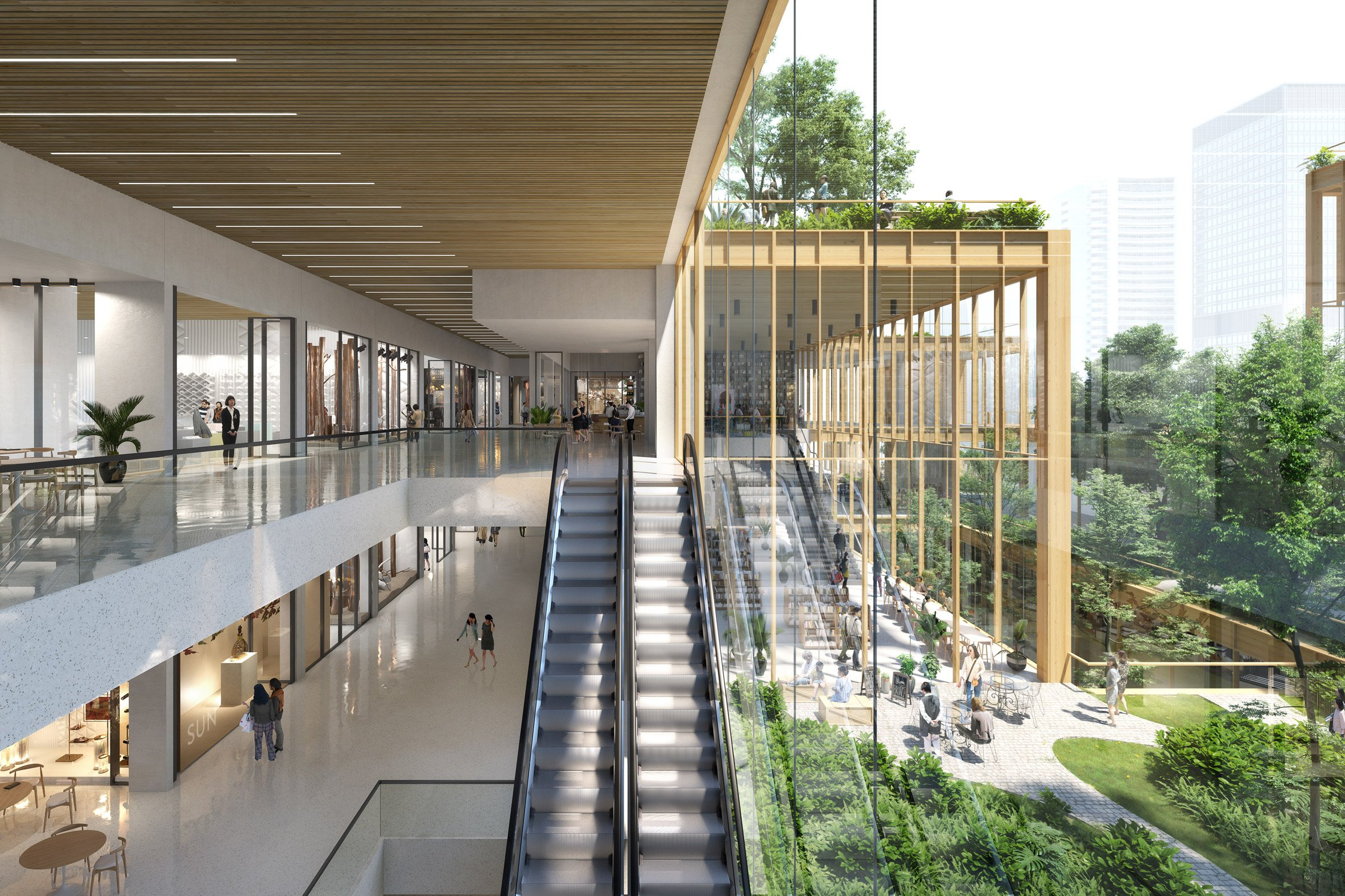 Inside a retail space in Henning Larsen's Seoul Valley proposal for South Korea