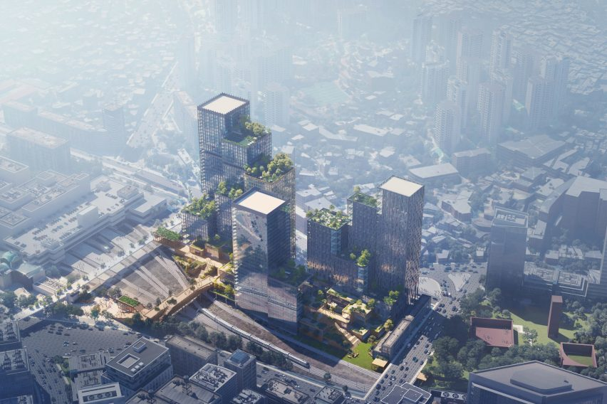 An aerial visual of Henning Larsen's Seoul Valley proposal for South Korea