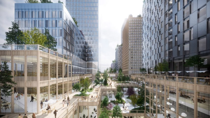 Timber retail spaces in Henning Larsen's Seoul Valley proposal for South Korea