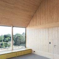 Pinewood interiors inside of SP House by (E)StudioRO in Chile