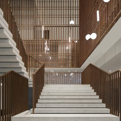 Terrazzo and bronze staircase features in The Sukhothai Shanghai hotel